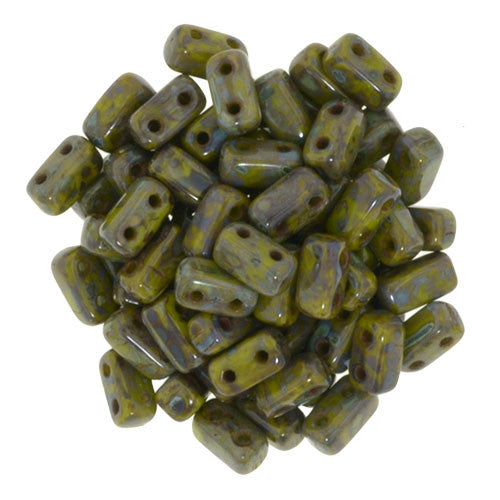 Czechmate 2mm X 6mm Brick Glass Czech Two Hole Bead, Opaque Olive Picasso - Barrel of Beads