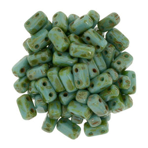 Czechmate 2mm X 6mm Brick Glass Czech Two Hole Bead, Persian Turq Picasso - Barrel of Beads