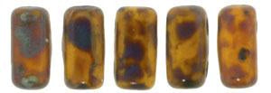 Czechmate 3mm X 6mm Brick Glass Czech Two Hole Bead, Sunflower Yellow - Picasso