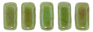 Czechmate 2mm X 6mm Brick Glass Czech Two Hole Bead, Honeydew Luster Picasso - Barrel of Beads