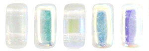 Czechmate 2mm X 6mm Brick Glass Czech Two Hole Bead, Crystal AB - Barrel of Beads