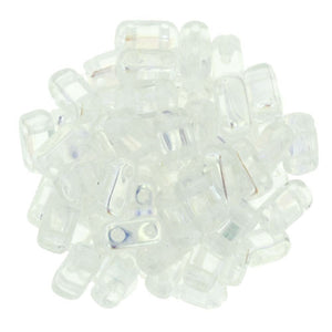 Crystal AB Czech 2-Hole Brick bead