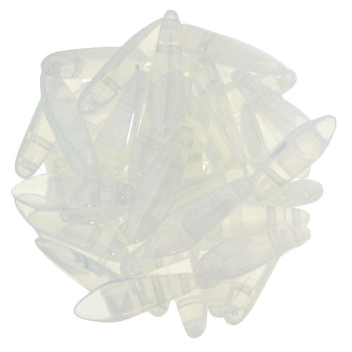 Czechmate 16mm X 5mm X 3mm Dagger Glass Czech Two Hole Bead, Milky White - Barrel of Beads