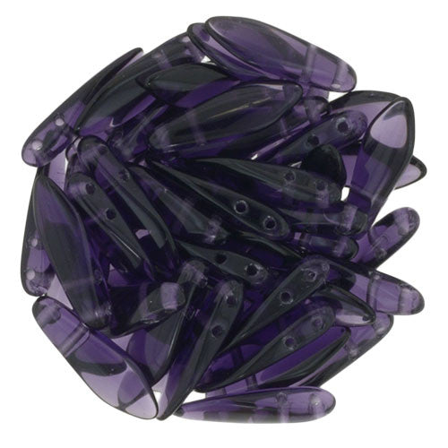 Czechmate 16mm X 5mm X 3mm Dagger Glass Czech Two Hole Bead, Tanzanite - Barrel of Beads