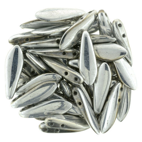 Czechmate 16mm X 5mm X 3mm Dagger Glass Czech Two Hole Bead, Silver - Barrel of Beads