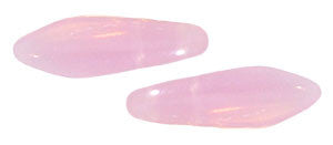 Czechmate 16mm X 5mm X 3mm Dagger Glass Czech Two Hole Bead, Milky Pink - Barrel of Beads