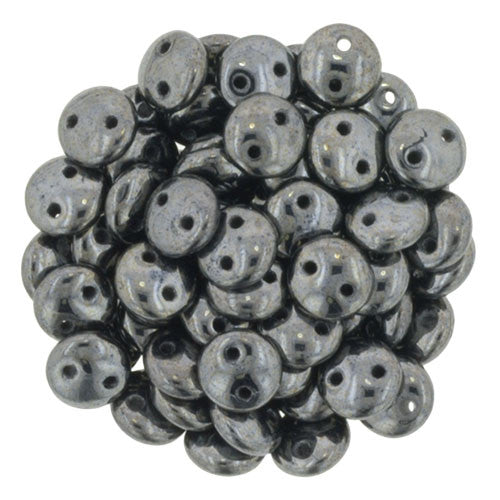 Hematite Czech 2-Hole Brick bead