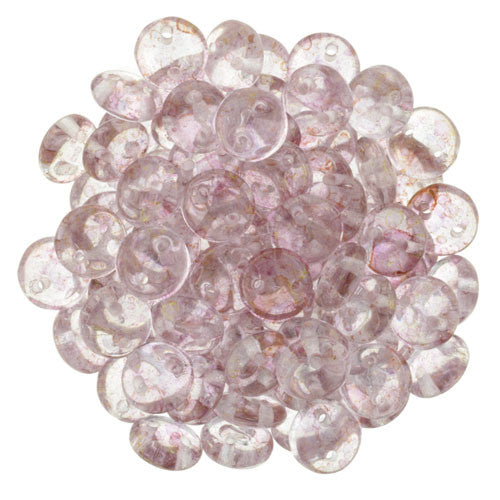 Czechmate 6mm Lentil Glass Czech Two Hole Bead, Luster Transparent Topaz/Pink - Barrel of Beads