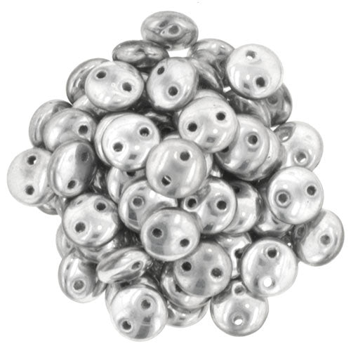 Czechmate 6mm Lentil Glass Czech Two Hole Bead, Silver - Barrel of Beads