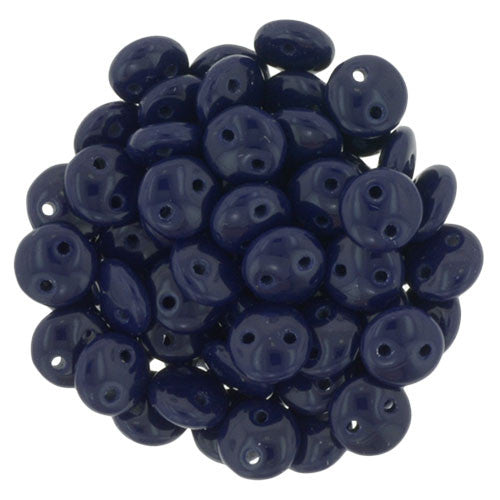 Czechmate 6mm Lentil Glass Czech Two Hole Bead, Navy - Barrel of Beads