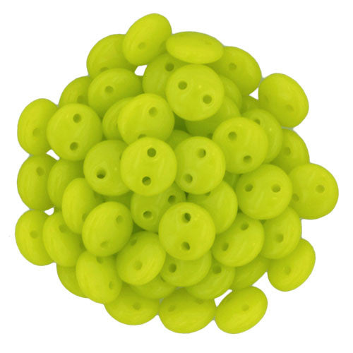 Czechmate 6mm Lentil Glass Czech Two Hole Bead, Chartreuse - Barrel of Beads