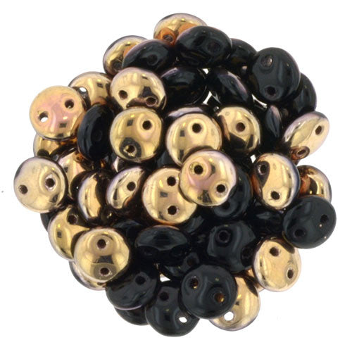 Czechmate 6mm Lentil Glass Czech Two Hole Bead, Jet Apollo - Barrel of Beads