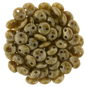 Czechmate 6mm Lentil Glass Czech Two Hole Bead, Beige/Bronze Picasso - Barrel of Beads