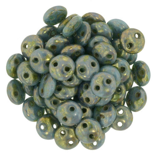 Czechmate 6mm Lentil Glass Czech Two Hole Bead, Bronze Picasso/Turquoise - Barrel of Beads