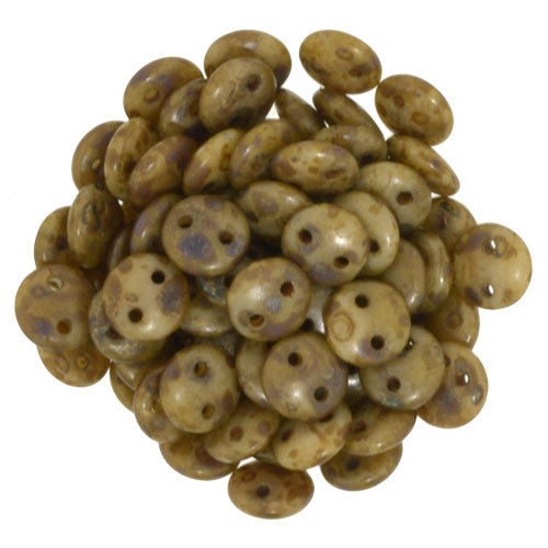 Czechmate 6mm Lentil Glass Czech Two Hole Bead, Beige/Copper Picasso - Barrel of Beads