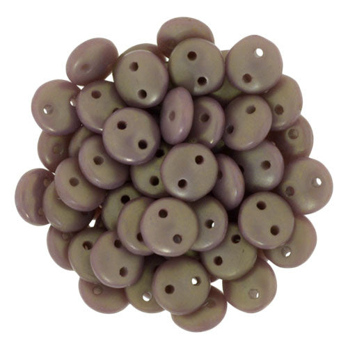 Czechmate 6mm Lentil Glass Czech Two Hole Bead, Ash Grey Copper Picasso - Barrel of Beads