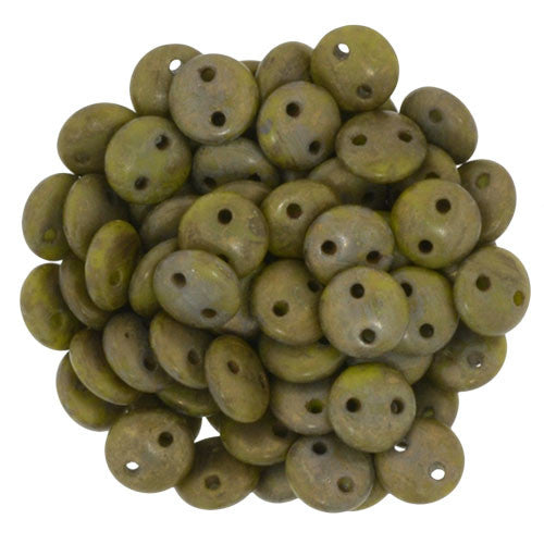 Czechmate 6mm Lentil Glass Czech Two Hole Bead, Chartreuse/Copper Picasso - Barrel of Beads