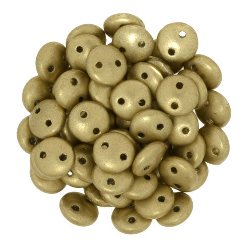 Czechmate 6mm Lentil Glass Czech Two Hole Bead, Matte Metallic Flax - Barrel of Beads