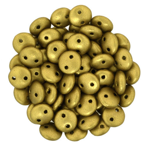 Czechmate 6mm Lentil Glass Czech Two Hole Bead, Matte Metallic Aztec Gold - Barrel of Beads