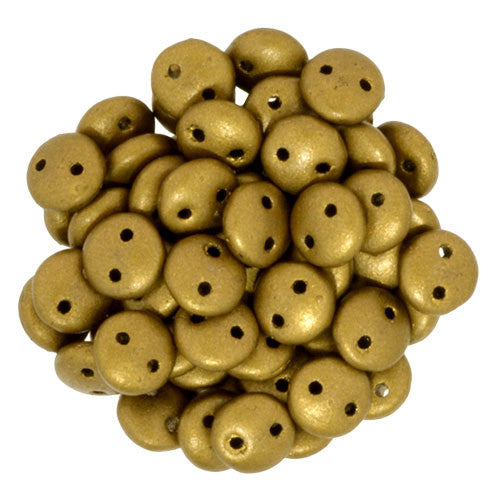 Czechmate 6mm Lentil Glass Czech Two Hole Bead, Matte Metallic Goldenrod - Barrel of Beads