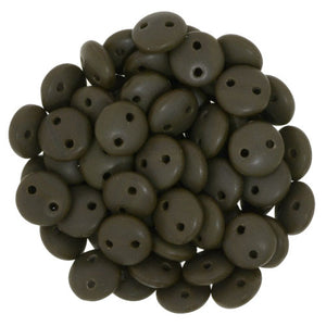 Czechmate 6mm Lentil Glass Czech Two Hole Bead, Matte Chocolate Brown - Barrel of Beads