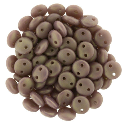 Czechmate 6mm Lentil Glass Czech Two Hole Bead, Matte Ash Grey Rosaline Luster - Barrel of Beads