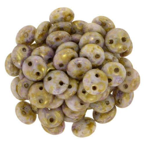 Luster Opaque Gold/Smoky Topaz Czech 2-Hole Brick bead