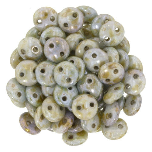 Czechmate 6mm Lentil Glass Czech Two Hole Bead, Luster Opaque Green - Barrel of Beads