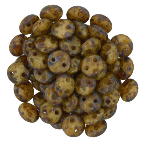 Czechmate 6mm Lentil Glass Czech Two Hole Bead, Beige Picasso - Barrel of Beads