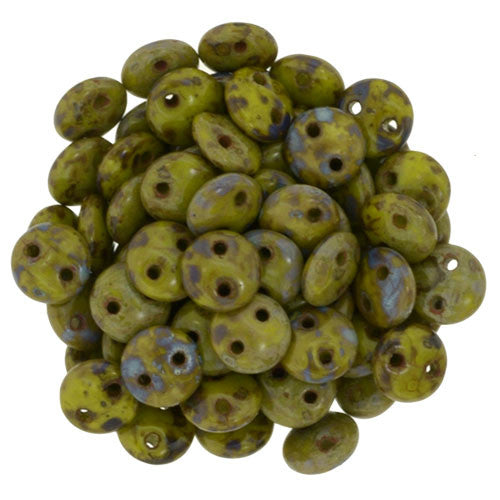 Czechmate 6mm Lentil Glass Czech Two Hole Bead, Opaque Olive Picasso - Barrel of Beads