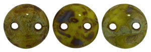 Czechmate 6mm Lentil Glass Czech Two Hole Bead, Chartreuse Picasso - Barrel of Beads