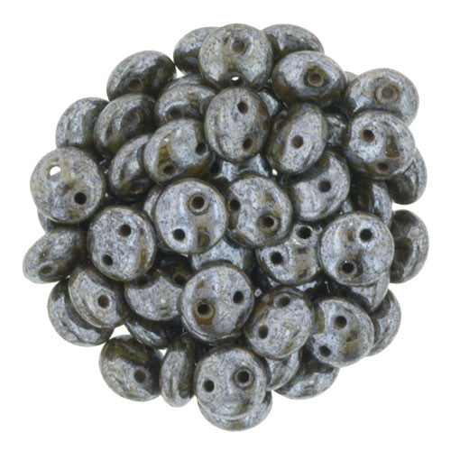 Chocolate Brown - Luster Picasso Czech 2-Hole Brick bead