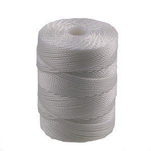 C-LON Bead Cord, White - 0.5mm, 92 Yard Spool - Barrel of Beads