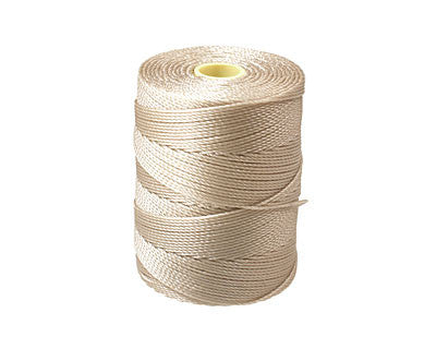 C-Lon Fine Weight Bead Cord, Beige - 0.4mm, 136 Yard Spool - Barrel of Beads