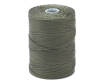 C-Lon Fine Weight Bead Cord, Olive - 0.4mm, 136 Yard Spool - Barrel of Beads