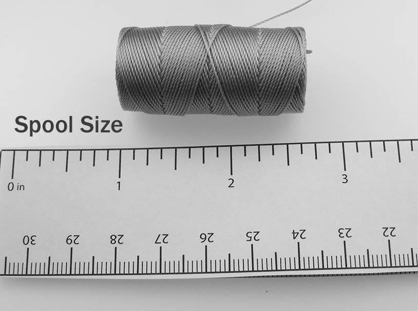 C-Lon Fine Weight Bead Cord (Tex 135), Nickel - 0.4mm, 50 Yard Spool