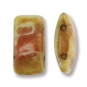 Czech Glass 9 x 17mm Carrier Bead Two Hole - White Travertine - 15 Beads