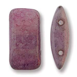 Czech Glass 9 x 17mm Carrier Bead Two Hole - Lilac Luster - 15 Beads