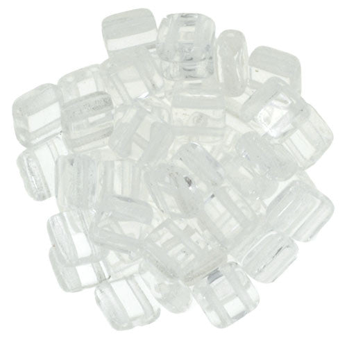 Czechmate 6mm Square Glass Czech Two Hole Tile Bead, Crystal - Barrel of Beads