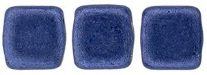 Czechmate 6mm Square Glass Czech Two Hole Tile Bead, Saturated Metallic Navy Peony