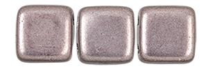 Czechmate 6mm Square Glass Czech Two Hole Tile Bead, Saturated Metallic Almost Mauve