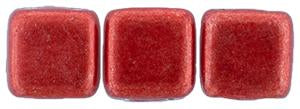 Czechmate 6mm Square Glass Czech Two Hole Tile Bead, Saturated Metallic Cherry Tomato