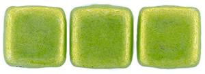 Czechmate 6mm Square Glass Czech Two Hole Tile Bead, Saturated Metallic Lime Punch