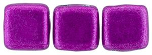 Czechmate 6mm Square Glass Czech Two Hole Tile Bead, Saturated Metallic Spring Crocus