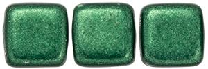 Czechmate 6mm Square Glass Czech Two Hole Tile Bead, Saturated Metallic Martini Olive