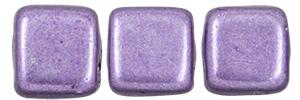 Czechmate 6mm Square Glass Czech Two Hole Tile Bead, Saturated Metallic Crocus Petal