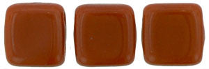 Czechmate 6mm Square Glass Czech Two Hole Tile Bead, Umber - Barrel of Beads