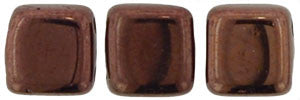 Czechmate 6mm Square Glass Czech Two Hole Tile Bead, Dark Bronze - Barrel of Beads