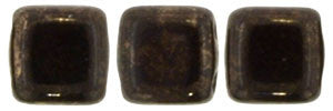 Czechmate 6mm Square Glass Czech Two Hole Tile Bead, Jet Marbled Dark Bronze - Barrel of Beads