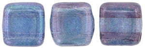Czechmate 6mm Square Glass Czech Two Hole Tile Bead, Luster Transparent Amethyst - Barrel of Beads